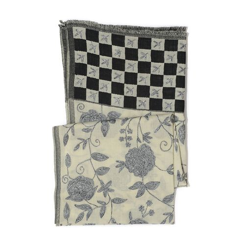 100% Merino Wool Floral, Leaves and Checks Pattern Black, Grey and Beige Colour Shawl  (Size 185x65 Cm)