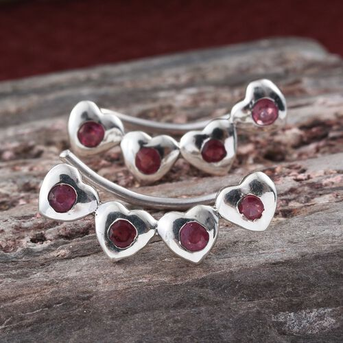 African Ruby 0.25 Ct Silver Heart Climber Earrings in Platinum Overlay