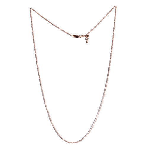 Rose Gold Overlay Sterling Silver Adjustable Diamond Cut Singapore Chain (Size 24), Silver wt 3.30 Gms.