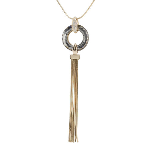 Simulated Grey Diamond and White Austrian Crystal Pendant With Chain in Yellow Gold Plated