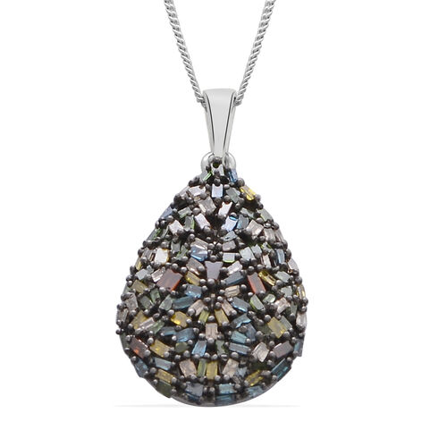 Firecracker Colour Diamond (Bgt) Teardrop Pendant With Chain in Platinum Overlay Sterling Silver 1.000 Ct.