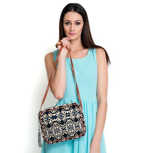 Black and Multi Colour Crossbody Bag (Size 28x22x4.5 Cm)