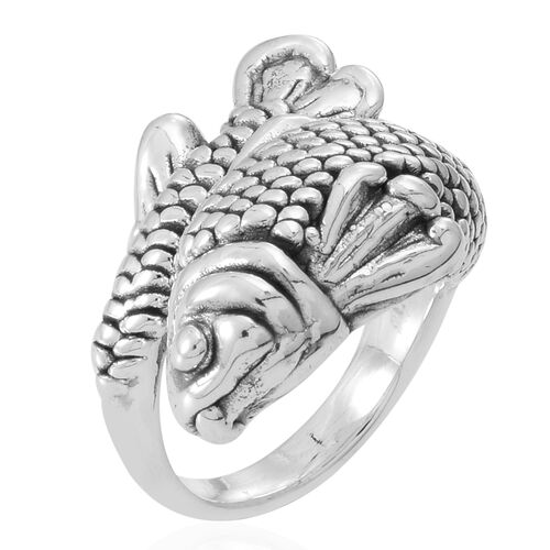 Thai Sterling Silver Fish Ring, Silver wt 5.76 Gms.