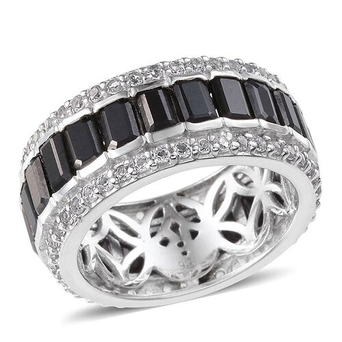 Boi Ploi Black Spinel (Oct), White Topaz Full Eternity Ring in Platinum Overlay Sterling Silver 10.250 Ct.
