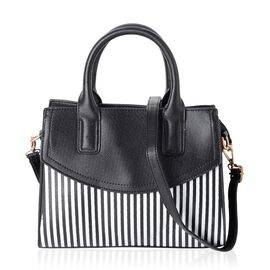 Black and White Colour Stripe Pattern Tote Bag with External Zipper Pocket and Removable Shoulder Strap (Size 28x22x11 Cm)