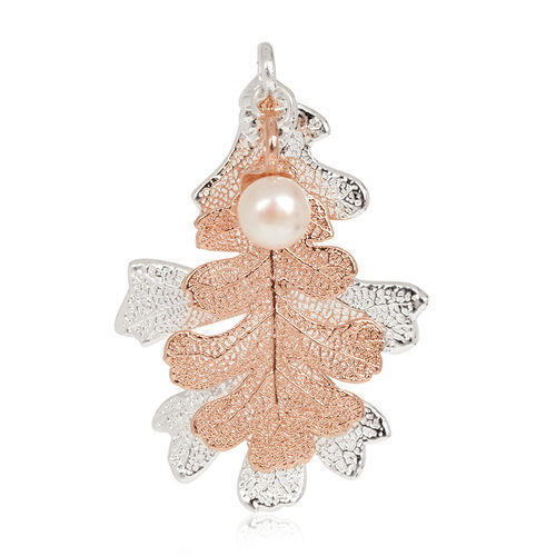 Real Lacey Oak Leaf Combo Pendant Dipped in Rose Gold and Silver with Pearl
