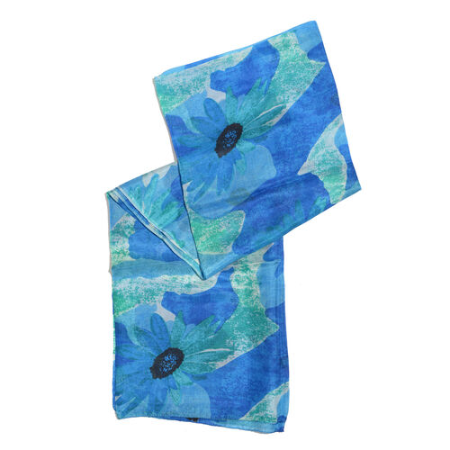 100% Mulberry Silk Blue, Green and Multi Colour Floral Pattern Scarf (Size 180x100 Cm)