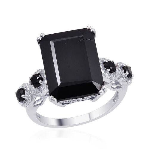 Boi Ploi Black Spinel (Oct 13.50 Ct), Diamond Ring in Platinum Overlay Sterling Silver 14.010 Ct.