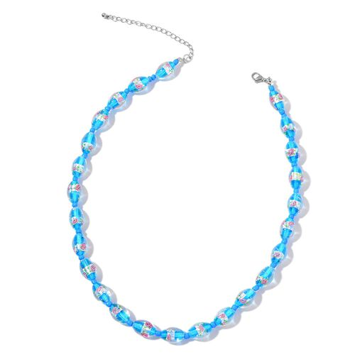 Designer Inspired- Murano Glass and Blue Colour Beads Floral Necklace (Size 19 with 3 inch Extender) in Stainless Steel
