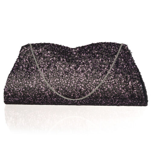 Purple Colour Satin Clutch Bag with Pink Sequins and Chain Strap (Size 26x10 Cm)