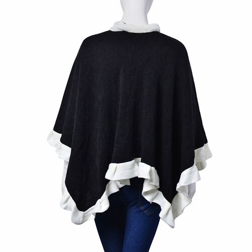 Designer Inspired-Black and White Colour Poncho (Size 100x50 Cm)