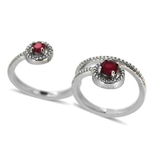 African Ruby,White Topaz 2 Finger Ring in Rhodium Plated Sterling Silver 1.030 Ct.