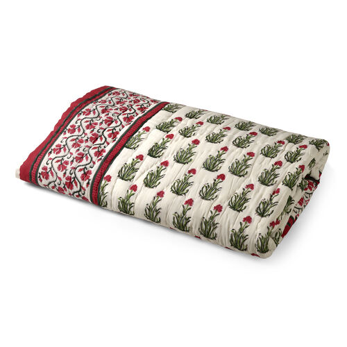 100% Cotton Cream, Red and Multi Colour Hand Block Mughal Floral Printed Quillow (Size 220x140 Cm)