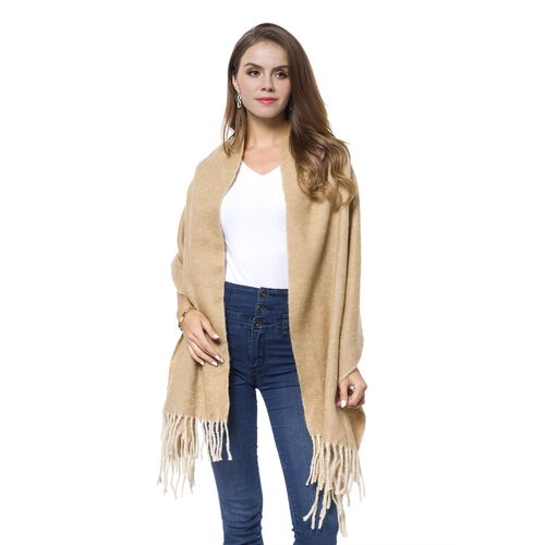 Italian Designer Inspired - Camel and Cream Colour Knitted Reversible Scarf with Tassels (Size 180X56 Cm)