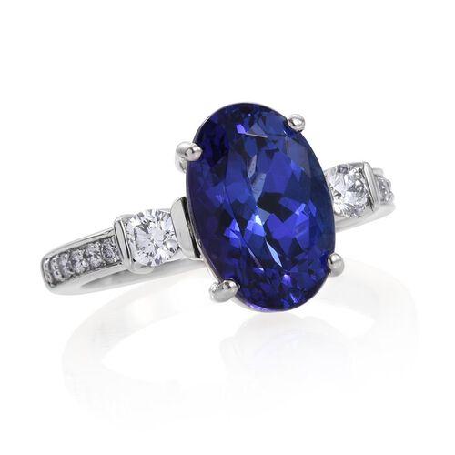 RHAPSODY 950 Platinum 5.50 Carat AAAA Tanzanite Oval, Diamond VS E-F Ring.