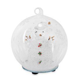 Home Decor - Christmas Snowman Theme Glass Ball with Colourful LED Lights Inside