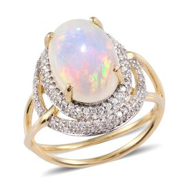 Exclusive Edition - Designer Inspired 9K Y Gold AAA Ethiopian Welo Opal (Ovl 4.25 Ct), Natural Cambodian Zircon Ring 5.500 Ct.Gold Wt 4.00 Gms