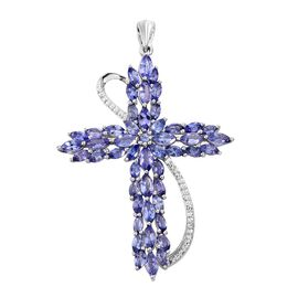 Tanzanite (Mrq) Cross Pendant in Platinum Overlay Sterling Silver 5.000 Ct.