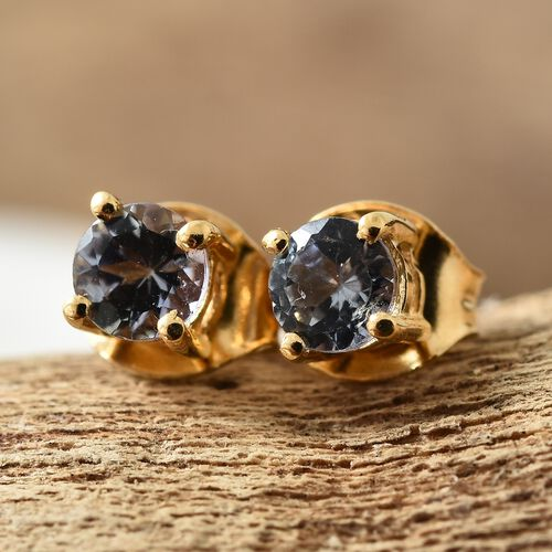 Green Tanzanite (Rnd) Stud Earrings (with Push Back) in 14K Gold Overlay Sterling Silver 0.500 Ct.