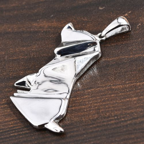 Origami Puppy Silver Pendant in Platinum Overlay, Silver wt 5.40 Gms.