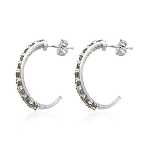 Bohemian Moldavite (Rnd) J Hoop Earrings (with Push Back) in Platinum Overlay Sterling Silver 2.000 Ct.