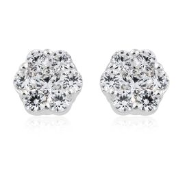 J Francis - Sterling Silver (Rnd) Flower Stud Earrings (with Push Back) Made with SWAROVSKI ZIRCONIA