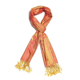 SILK MARK - 100% Superfine Silk Coral and Golden Colour Floral and Leaves Pattern Jacquard Jamawar Scarf with Fringes (Size 180x70 Cm) (Weight 125-140 Grams)