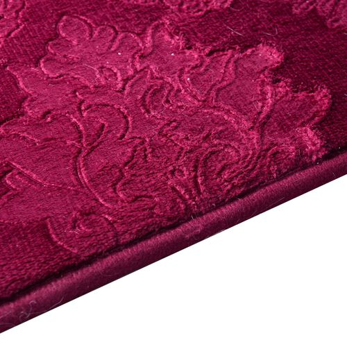 Set of 3 - Red Colour Leaves and Filigree Pattern Bath Mat (Size 80x50 Cm), Toilet Cover (Size 45x40 Cm) and Counter Mat (Size 50x40 Cm)