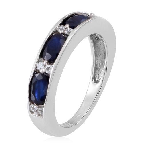 Kanchanaburi Blue Sapphire (Ovl), Natural Cambodian White Zircon Half Eternity Ring in Rhodium Plated Sterling Silver 3.000 Ct.