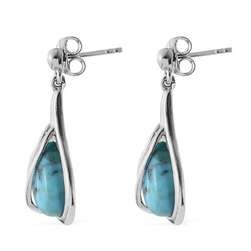 Arizona Matrix Turquoise (Pear) Earrings (with Push Back) in Platinum Overlay Sterling Silver 6.750 Ct.