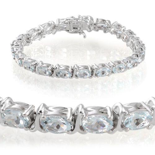 Espirito Santo Aquamarine (Ovl) Bracelet in Platinum Overlay Sterling Silver (Size 7.5) 13.000 Ct.
