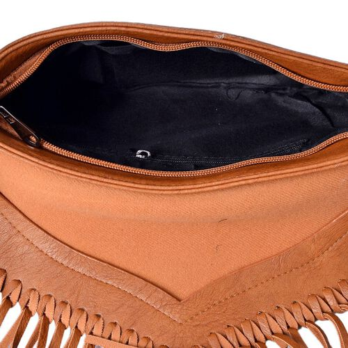 Chocolate Colour Crossbody Bag with Fringes and Adjustable, Removable Shoulder Strap (Size 26x18 Cm)