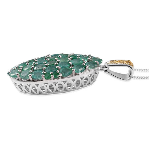 Designer Inspired - AA Kagem Zambian Emerald (Ovl) Pendant with Chain in Platinum and Yellow Gold Overlay Sterling Silver 5.00 Ct.