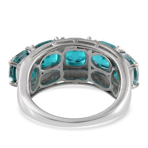 Capri Blue Quartz (Cush) 5 Stone Ring in ION Plated Platinum Bond 6.500 Ct.