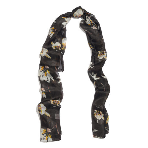 100% Mulberry Silk Black, White and Yellow Colour Handscreen Floral Printed Scarf (Size 170X50 Cm)