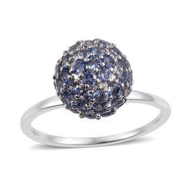 9K White Gold 2.50 Carat AA Tanzanite Ball Ring