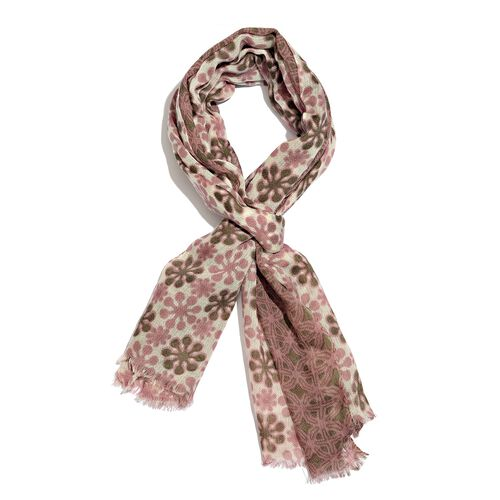 100% Merino Wool Lavender Pink, Green and White Colour Floral Pattern Scarf with Fringes (Size 170X70 Cm)