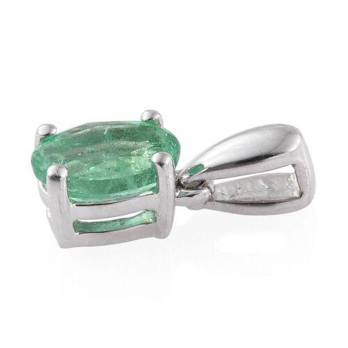 ILIANA 18K White Gold AAA Boyaca Colombian Emerald (Ovl) Solitaire Pendant 0.500 Ct.