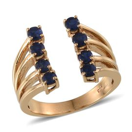 Kanchanaburi Blue Sapphire (Rnd) Ring in 14K Gold Overlay Sterling Silver 1.500 Ct.