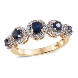 9K Yellow Gold 1.65 Ct AA Kanchanaburi Blue Sapphire Ring with Natural Cambodian Zircon