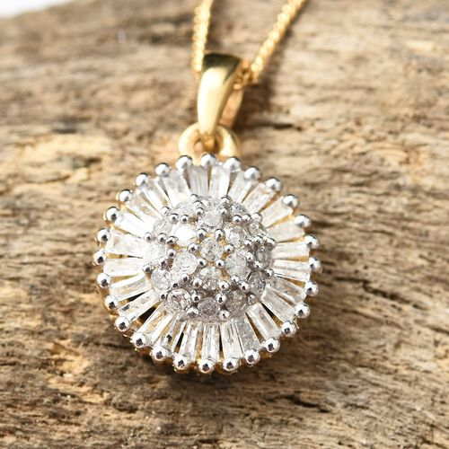Diamond (Bgt and Rnd) Sunflower Pendant with Chain in 14K Gold Overlay Sterling Silver 0.500 Ct.
