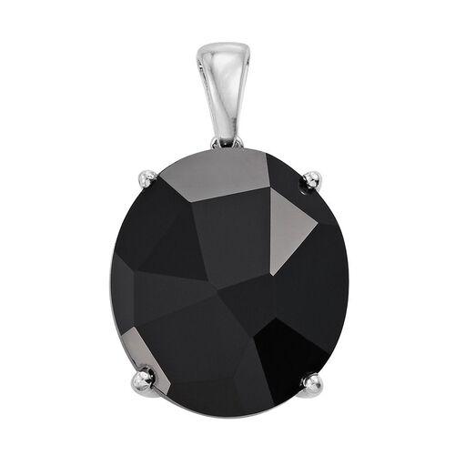J Francis Crystal from Swarovski - Jet Crystal (Ovl) Pendant in Platinum Overlay Sterling Silver