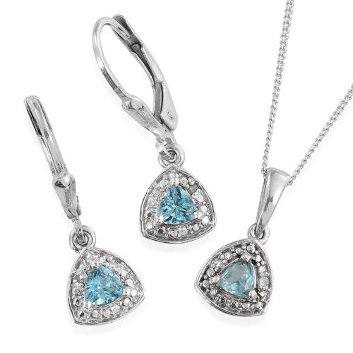 Paraibe Apatite (Trl), Diamond Pendant With Chain and Lever Back Earrings in Platinum Overlay Sterling Silver 0.780 Ct.