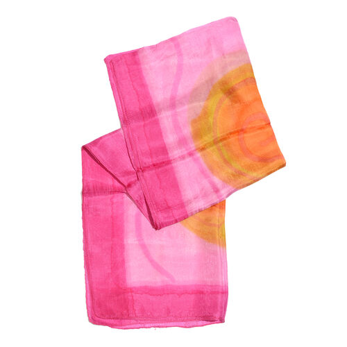 100% Mulberry Silk Pink, Orange and Multi Colour Suzani Printed Scarf (Size 180x50 Cm)