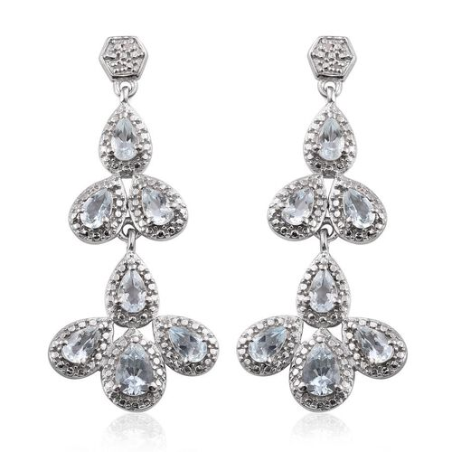 Espirito Santo Aquamarine (Pear), Diamond Earrings in Platinum Overlay Sterling Silver 2.780 Ct.