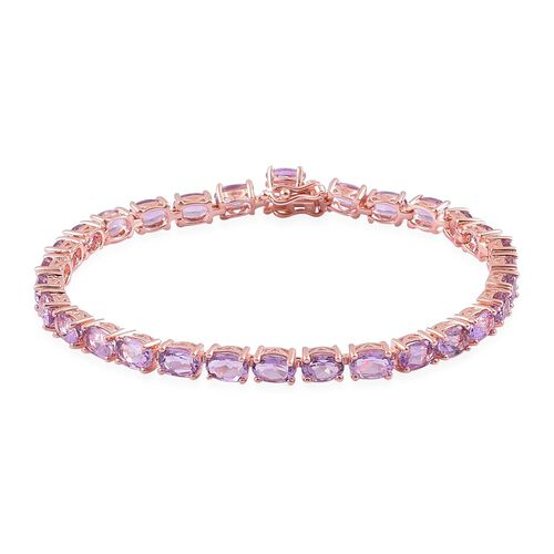 Rose De France Amethyst (Ovl) Tennis Bracelet (Size 7.5) in Rose Gold Overlay Sterling Silver 12.000 Ct.