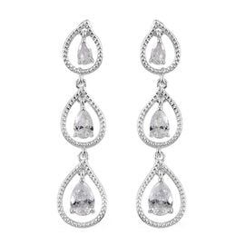 ELANZA AAA Simulated Diamond (Pear) Chandelier Earrings (with Push Back) in Sterling Silver, Silver wt 4.42 Gms.