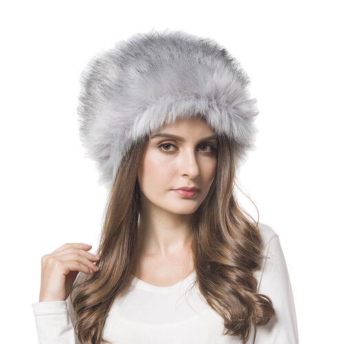 Grey Colour Faux Fur Cossack Hat (Size 20X13 Cm)