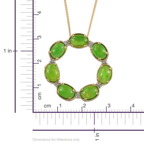 Green Ethiopian Opal (Ovl), Diamond Circle Pendant With Chain in 14K Gold Overlay Sterling Silver 4.010 Ct.