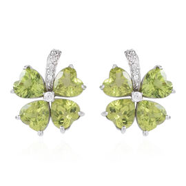Limited Edition-Hebei Peridot (Hrt), Natural White Zircon Floral Stud Earrings (with Push Back) in Rhodium Plated Sterling Silver 6.500 Ct.
